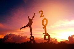 Silhouette young man Happy for 2019 new year.  Stock Photos