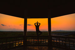 Silhouette young man playing yoga on wooden pagoda in park Stock Photo