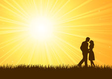 Silhouette of young man and woman Royalty Free Stock Photo