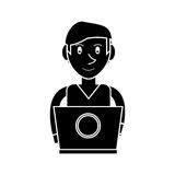 Silhouette young man working laptop design Stock Photos