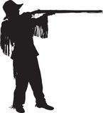 Silhouette of a young mountain man Royalty Free Stock Image
