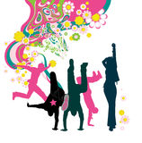 Silhouette of young people. Floral background. Stock Photography