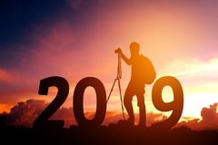 Silhouette young photography Happy for 2019 new year.  Stock Photo