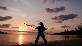 Silhouette of a young powerful woman standing on the beach with a kung-fu stick stock footage