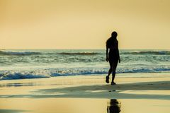 Silhouette of young sporty woman walking on seashore after running workout at a beautiful beach enjoying sunset light and relax in royalty free stock image