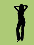 Silhouette of a young woman Stock Photo