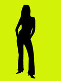 Silhouette of a young woman Stock Photos