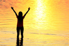 Silhouette of young woman against summer sunset Royalty Free Stock Image