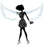 Silhouette of a Young Woman with Angel Wings Royalty Free Stock Images