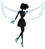 Silhouette of a Young Woman with Angel Wings. Silhouette of a Young Woman with Angel Wings, Wearing Shoes, Beads and Glamorous Womens Handbag .Vector Stock Photo