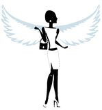 Silhouette of a Young Woman with Angel Wings. Royalty Free Stock Image