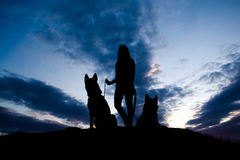 Silhouette of young woman and dog against sky. Summertime. Wild nature. Trendy color Royalty Free Stock Images