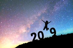 Silhouette young woman Happy for 2019 new year background on th stock image