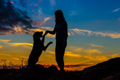 A silhouette of a young woman and her mutt dog. Royalty Free Stock Image