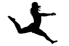Silhouette Young Woman Jumping 2. Silhouette Young Woman Jumping Over White Stock Images