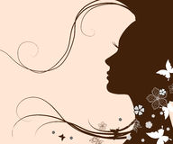 Silhouette of a young woman with long hair Royalty Free Stock Images