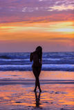 Silhouette young woman posing Royalty Free Stock Photo