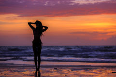 Silhouette young woman posing Stock Image