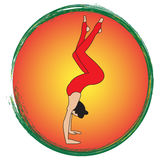 Silhouette young woman practicing yoga. Girl pilates. Vector  abstract background Royalty Free Stock Photo