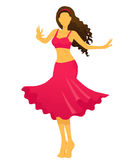 Silhouette of young woman showing belly dance Royalty Free Stock Images