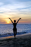 Silhouette young  woman on sunset Royalty Free Stock Photos