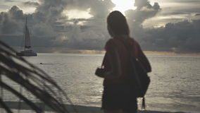 Silhouette of young woman on the sunset. Rear view. Young beautiful woman stands towards the sun on Sea beach during a amazing sunset. Young woman standing on a stock video