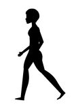 silhouette young woman walking isolated icon design Royalty Free Stock Images