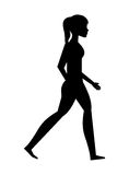 silhouette young woman walking isolated icon design Stock Images