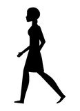 silhouette young woman walking isolated icon design Royalty Free Stock Photo