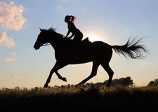 Silhouette young women riding horse Royalty Free Stock Photos