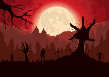 Silhouette Zombie arm out from ground of grave in a full moon night. Silhouette Zombie arm reaching out from ground of grave in a full moon night and red sky Royalty Free Stock Photography