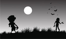 Silhouette of zombie halloween with gray backgrounds Stock Photography