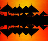Silhouette of zoo roof. Stock Photo