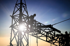 Silhouetteblack man  electrical engineer and electrical workers Royalty Free Stock Images