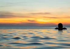 Silhouetted головка против бассеина края безграничности Стоковые Изображения