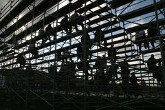 silhouetted люди bleachers Стоковые Фото