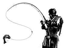 Silhouetted рыболов с иллюстрацией рыболовной удочки иллюстрация штока