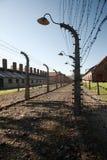 Silhouetted светильник и колючая проволока, Освенцим стоковое фото