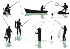 Silhouetted anglers Stock Photography