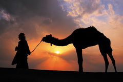 Silhouetted bedouin walking with his camel at sunset, Thar deser Royalty Free Stock Images