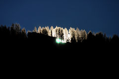 silhouetted bergskedja Arkivfoto