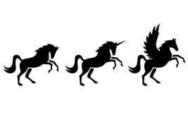 Silhouetted bilder av hästar, enhörningar och Pegasus Royaltyfri Bild
