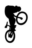 Silhouetted BMX rider on bike Stock Image