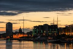 Silhouetted buildings over the Liffey. Dubln. Ireland royalty free stock image