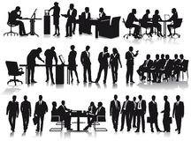 Silhouetted businesspeople Stock Photos