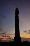 Silhouetted California Lighthouse in Noord Aruba Stock Photography