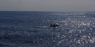 Silhouetted canoe in sea. Silhouetted canoe sailing in sea with sunlight glistening on surface royalty free stock image