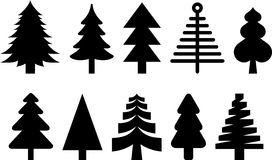 Silhouetted Christmas trees. Illustrated set of Christmas trees isolated on white background Royalty Free Stock Photo
