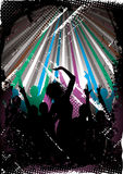 Silhouetted clubbers dancing. Silhouette of clubbers dancing under disco lights with grunge background Royalty Free Stock Image