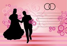 Silhouetted couple on pink Stock Photos